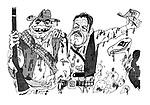 (mud spattered cowboys Ernest Borgnine and William Holden in The Wild Bunch)