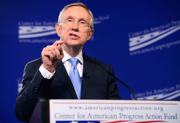 """UNITED STATES - JULY 15: Senate Majority Leader Harry Reid, D-Nev., delivers an address at Center for American Progress titled """"Ending Senate Gridlock."""" (Photo By Tom Williams/CQ Roll Call)"""