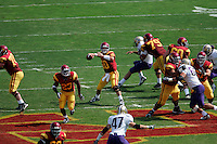 7 October 2006: USC starting quarterback #10 John David Booty during  NCAA College Football Pac-10 USC Trojans 26-6 win over the Washington Huskies at the LA Coliseum during a sunny saturday game in Los Angeles, CA. View from overhead.<br />