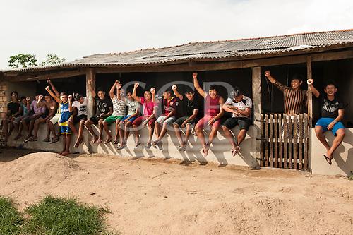 Pará State, Brazil. Kayapó students of the Komomoyea Kovoero Indigenous Secondary School in the Aldeia Indigena Kuxonety Pokee, a Terena village in the Gleba Iriri Indigenous Territory.