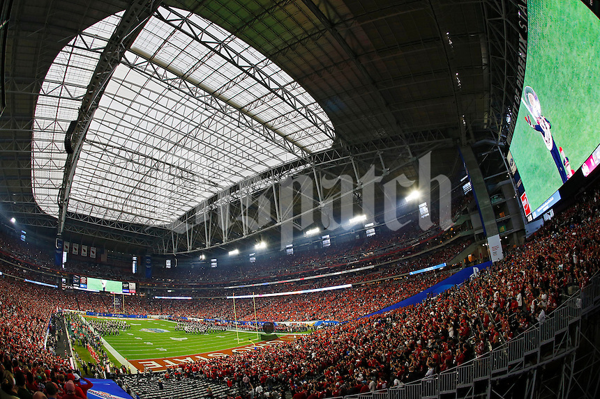 The Ohio State marching band performs Script Ohio prior to the College Football Playoff semifinal Fiesta Bowl against the Clemson Tigers at University of Phoenix Stadium in Glendale, Arizona on Dec. 31, 2016. (Adam Cairns / The Columbus Dispatch)
