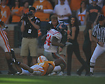 Ole Miss running back Brandon Bolden (34) is unable to recover a fumble by Tennessee defensive back Janzen Jackson (15) on a punt in a college football game at Neyland Stadium in Knoxville, Tenn. on Saturday, November 13, 2010. Tennessee won 52-14.