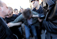 A man was alleged to have have called out rasist remarks and hit a woman, and was subsequently beaten by anti- NDL protesters. The man was eventually rescued by a plain clothed police man. Norwegian Defence League held their first rally in Oslo on April 9, 2011. Only a handuful of people turned up, and NDL were outnumbered by media representatives. In another part of town opponents held a counter demonstration.
