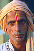 India,Roxhaul.<br /> Local man with head wrap and religious marking on his forehead at the Nepalese and Indian border post.<br /> <br /> Photography by Richard Olivier&copy;1988<br /> Tel 0044(0)208 944 6933<br /> www.linkphotographers.com