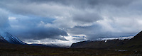 Panoramic view south of Tj&auml;ktjavagge and Kungsleden trail from near S&auml;lka hut, Lappland, Sweden