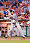 13 June 2006: Yorvit Torrealba, catcher for the Colorado Rockies, at bat against the Washington Nationals at RFK Stadium, in Washington, DC. The Rockies defeated the Nationals 9-2 in the second game of the four-game series...Mandatory Photo Credit: Ed Wolfstein Photo..