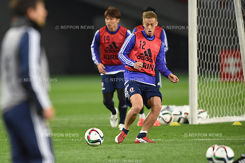 Keisuke Honda (JPN), <br /> MARCH 30, 2015 - Football / Soccer : <br /> Japan training session <br /> at Tokyo Stadium in Tokyo, Japan. <br /> (Photo by AFLO SPORT)