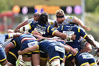 The front rows pop up at a scrum. Aviva Premiership match, between Worcester Warriors and Bath Rugby on April 15, 2017 at Sixways Stadium in Worcester, England. Photo by: Patrick Khachfe / Onside Images