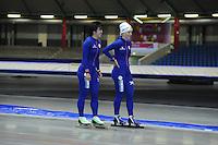 SCHAATSEN: HEERENVEEN: 19-06-2014, IJsstadion Thialf, Zomerijs training, Thisje Oenema, Nao Kodaira (JAP)Team Continu, ©foto Martin de Jong