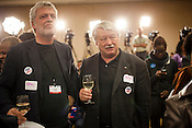 Karl Oellinger, left, and Wolfgang Grossruck, International Election Observers and fans of white wine at the State Democratic Watch Party, North Carolina Election Day, November 6, 2012. .