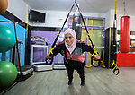 Dania El Masry, 20-years old a Palestinian woman from Khan younis student of Physical Therapy, plays CrossFit sport at Gym in the southern Gaza strip, on Feb. 07, 2017. CrossFit workouts incorporate elements from high-intensity interval training, Olympic weightlifting, plyometrics, powerlifting, gymnastics, girevoy sport, calisthenics, strongman, and other exercises. Photo by Mofeed Abo Zaida
