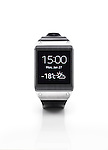 Samsung Galaxy Gear smartwatch showing time and weather. Isolated watch on white background with clipping path.