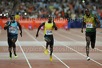 Usain Bolt of Jamaica winning the Mens 100m race at the Sainsbury Anniversary Games, Olympic Stadium, London England, Friday 26th July 2013-Copyright owned by Jeff Thomas Photography-www.jaypics.photoshelter.com-07837 386244. No pictures must be copied or downloaded without the authorisation of the copyright owner.