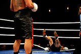 June 19, 2009 - Richmond, BC - Rumble at the Rock IV - Heavyweight fighters Jaime Walton of Burnaby, BC, and Brad McPeake of Vancouver squared off in a four round non-title bout. Walton landed a solid right sending McPeake to the canvas for the second time, this time almost through the ropes.The heavyweight four round event between Walton (3-1) and McPeake (1-11-2) ended at 1:35 of the second round with Walton winning on a TKO.