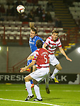 Hamilton Accies v St Johnstone...24.09.13      League Cup<br /> Stevie May heads the ball in to make it 1-0<br /> Picture by Graeme Hart.<br /> Copyright Perthshire Picture Agency<br /> Tel: 01738 623350  Mobile: 07990 594431