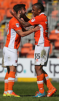 Blackpool's Neil Danns celebrates scoring his sides third goal with teammate Jack Payne<br /> <br /> Photographer Alex Dodd/CameraSport<br /> <br /> The EFL Sky Bet League Two - Blackpool v Cheltenham Town - Saturday 22nd April 2017 - Bloomfield Road - Blackpool<br /> <br /> World Copyright &copy; 2017 CameraSport. All rights reserved. 43 Linden Ave. Countesthorpe. Leicester. England. LE8 5PG - Tel: +44 (0) 116 277 4147 - admin@camerasport.com - www.camerasport.com