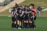 05 November 2008: Duke's starters huddle b efore the game. Boston College defeated Duke University 1-0 at Koka Booth Stadium at WakeMed Soccer Park in Cary, NC in a women's ACC tournament quarterfinal game.