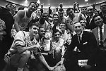 21 MAR 1964:  John Wooden, coach of UCLA after winning the NCAA Men's National Basketball Final Four championship game held in Kansas City, MO Municipal Auditorium. UCLA defeated Duke 98-83 for the title. .Photo:  &copy; Rich Clarkson / NCAA Photos
