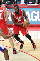 02/22/15 Los Angeles, CA: Houston Rockets guard James Harden #13in action against the Los Angeles Clippers during an NBA game played at Staples Center.