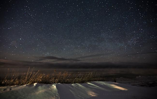 January's night sky over Lake Superior