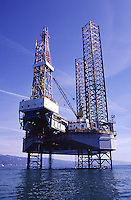 Jack-up oil drilling rig,.Santa Barbara, CA.