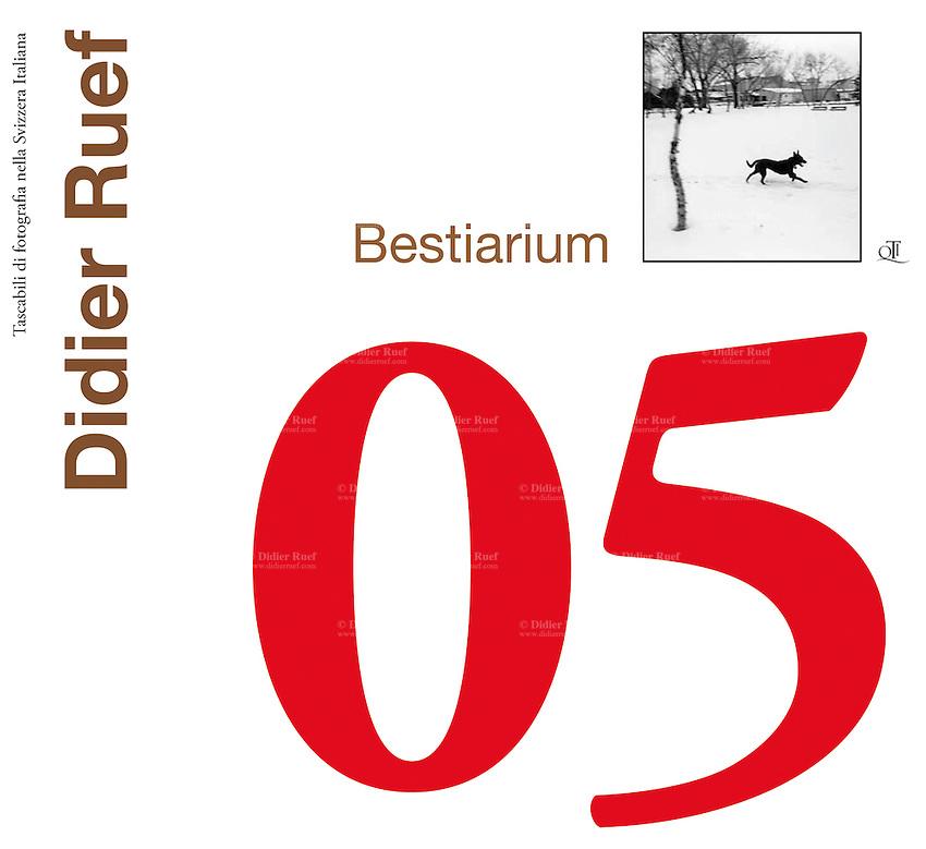 Bestiarium, published in 2012 by QTI (Tascabili di fotografia nella Svizzera italiana) in italian language. 16,5 x 18 cm, 96 pages. Soft cover. 40 B&W Triplex. Photography Didier Ruef. Text: Adriano Heitmann. 9.03.12 © 2012 Didier Ruef