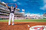 11 September 2016: Washington Nationals outfielder Bryce Harper stands on deck during a game against the Philadelphia Phillies at Nationals Park in Washington, DC. The Nationals edged out the Phillies 3-2 to take the rubber match of their 3-game series. Mandatory Credit: Ed Wolfstein Photo *** RAW (NEF) Image File Available ***