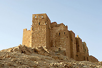 Qala'at ibn Maan, Arab citadel built 12th century and restored 17th century, Palmyra, Syria. Named after Fakhr al-Din ibn Maan, 17th century Lebanese warlord who resisted the Ottomans Picture by Manuel Cohen