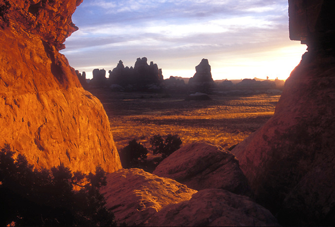 Sunset lights the Needles in Canyonlands National Park, Utah
