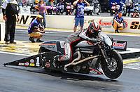 May 6, 2012; Commerce, GA, USA: NHRA pro stock motorcycle rider Eddie Krawiec during the Southern Nationals at Atlanta Dragway. Mandatory Credit: Mark J. Rebilas-