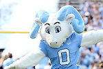 17 September 2016: UNC mascot, RJ - Rameses Jr., leads the team onto the field. The University of North Carolina Tar Heels hosted the James Madison University Dukes at Kenan Memorial Stadium in Chapel Hill, North Carolina in a 2016 NCAA Division I College Football game.