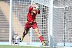 30 August 2013: Kennesaw State's Olivia Sturdivant makes a save. The Duke University Blue Devils played the Kennesaw State University Owls at Fetzer Field in Chapel Hill, NC in a 2013 NCAA Division I Women's Soccer match. Duke won 1-0.