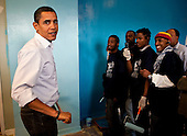 Washington, DC - January 19, 2009 -- United States President-elect Barack Obama paints walls at the Sasha Bruce House in Washington, D.C., U.S., Monday, January 19, 2009.  The Sasha Bruce House aids at risk youths in the Washington, D.C. .Credit: Joshua Roberts - Pool via CNP