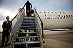 Republican vice presidential candidate Rep. Paul Ryan's boards his campaign plane at West Palm Beach International Airport in West Palm Beach, Florida, October 19, 2012. Ryan will be joining Mitt Romney for a rally in Daytona Beach, Florida this evening.