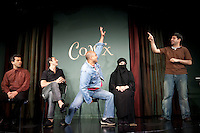 Comedians Daoud Heidami (L), Waleed Zuaiter (2L), Haythem Noor (C), Rasha Zamamiri (2R) and Sevan Greene perform in the 6th Annual NY Arab-American Comedy Festival in New York, USA, 10 May 2009.