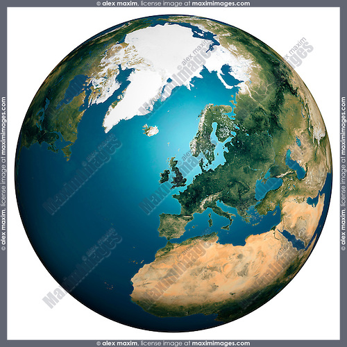 Earth globe view from space with United Kingdom in the center Isolated silhouette on white background