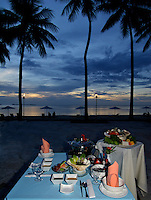 SEAFOOD SETUP AND SUNSET, PALAU MICRONESIA