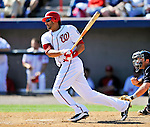 12 March 2011: Washington Nationals' outfielder Michael Morse gets an RBI single during a Spring Training game against the New York Yankees at Space Coast Stadium in Viera, Florida. The Nationals edged out the Yankees 6-5 in Grapefruit League action. Mandatory Credit: Ed Wolfstein Photo