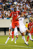 Felipe Baloy (23) of Panama and Davy Arnaud (22) of the United States (USA) go up for a header. The United States (USA) defeated Panama (PAN) 2-1 during a quarterfinal match of the CONCACAF Gold Cup at Lincoln Financial Field in Philadelphia, PA, on July 18, 2009.