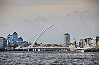 Dublin, Ireland's modern Samuel Beckett Bridge joins Sir John Rogerson's Quay and North Wall Quay in the docklands area.