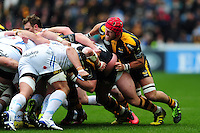 James Haskell of Wasps in action at a scrum. European Rugby Champions Cup quarter final, between Wasps and Exeter Chiefs on April 9, 2016 at the Ricoh Arena in Coventry, England. Photo by: Patrick Khachfe / JMP