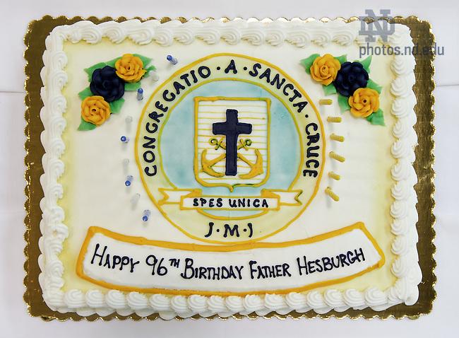 May 24, 2013; Birthday cake for Fr. Hesburgh, 2013...Photo by Matt Cashore/University of Notre Dame