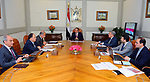 Egyptian President Abdel Fattah al-Sisi meets with Sherif Ismail Prime Minister, and Minister of Finance Amr El Garhy in Cairo, Egypt, on April 18, 2017. Photo by Egyptian President Office
