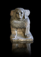 Column base Sphix sculpture support. Found in North Hall at the Castle of Sam'al - Zincirli. Basalt 8th century BC. Vorderasiatisches Museum, Pergamon Museum, Berlin, inv no 3017