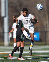 College of St Rose forward Sydney Bond (8) volley pass.. In 2012 NCAA Division II Women's Soccer Championship Tournament First Round, College of St Rose (white) defeated Wilmington University (black), 3-0, on Ronald J. Abdow Field at American International College on November 9, 2012.