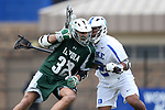DURHAM, NC - MARCH 11: Duke's Zack Sirico (32) and Duke's JT Giles-Harris (2). The Duke University Blue Devils hosted the Loyola University Maryland Greyhounds on March 11, 2017, at Koskinen Stadium in Durham, NC in a Division I College Men's Lacrosse match. Duke won the game 15-7.