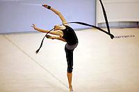 Anna Bessonova of Ukraine trains with ribbon at Deriugina School before 2006 Deriugina Cup Grand Prix in Kiev, Ukraine on March 14, 2006.<br />