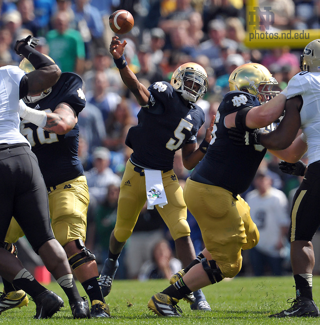 Sep 8, 2012; Quarterback Everett Golson (5) throws in the first quarter against Purdue...Photo by Matt Cashore