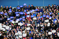 Bath Rugby supporters in the crowd hold up 'Try' cards in celebration. Aviva Premiership match, between Bath Rugby and London Irish on March 5, 2016 at the Recreation Ground in Bath, England. Photo by: Patrick Khachfe / Onside Images