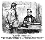 """Election Intelligence. Brilliant Elector (at the polling station). """"It's a stoutish koind of a man, with a bald 'ead, as ar wishes to vote for, but ar 'm blessed if ar know 'is naame!!"""" (a Victorian cartoon shows a voter turning up at a Polling Station to vote at a General Election)"""